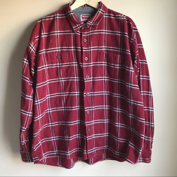 Wrangler Other - Wrangler Premium Quality Red Flannel Button Shirt